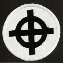 Ecusson blanc croix celtique (rond)